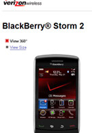 A 360-degree view of the BlackBerry Storm 2 appears on Verizon´s official website