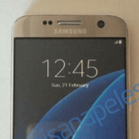 Samsung Galaxy S7 dummy in shiny gold caught on camera