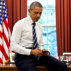 President Obama may have swapped his BlackBerry for an encrypted Galaxy S4