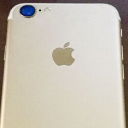 Back of gold-colored Apple iPhone 7 poses for posterity?