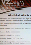 Verizon conducts training centered on the Palm and webOS?