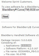 Sprint releases software update for the BlackBerry Curve 8530