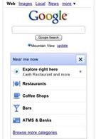 Google.com offers location based services for the iPhone and Android platforms