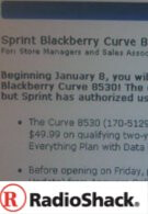 RadioShack starting to offer the BlackBerry 8530 for Sprint?