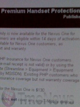 Insurance for the Nexus One is now offered by T-Mobile