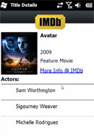 IMDb Mobile 0.1 for WM uses an iPhone API to deliver info