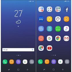 Galaxy S8 user interface and icons showcased in a series of images