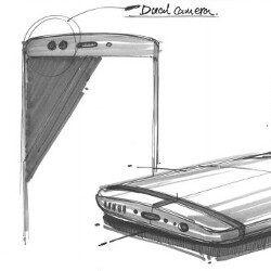 Sketches of OnePlus 5 display dual cameras in back and front