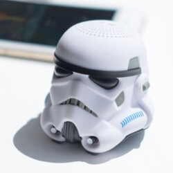 Incredibly lifelike Stormtrooper helmet mini portable speaker plays tunes for the Empire