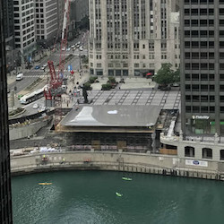 This giant Macbook-shaped roof will cover Apple's new glass box store in Chicago