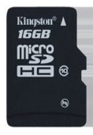 Kingston's Class 10 16GB microSDHC card has a data transfer rate of 10MB/s