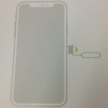 Purported iPhone 8 user manual insert depicts an all-screen front with a 'notch' at the top