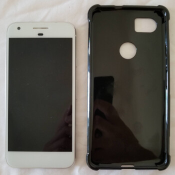 Alleged Pixel XL 2 case compared to original Pixel and Galaxy S8 – yeah, it