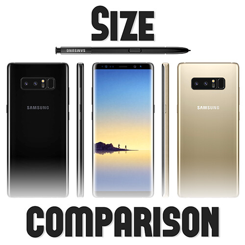 samsung galaxy note 8 size comparison versus galaxy s8 s8 lg g6 iphone 7 pixel xl htc u11. Black Bedroom Furniture Sets. Home Design Ideas