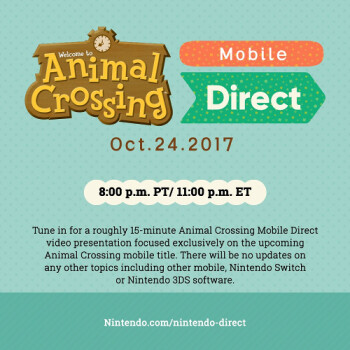 Nintendo's next mobile game, Animal Crossing, will be announced on October 24