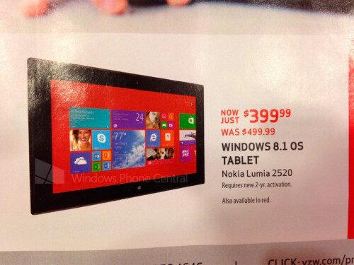 Verizon will offer buyers of the Nokia Lumia 2520 a $100 discount on Black Friday