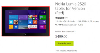 The now-pulled pre-order listing for the Verizon version of the Nokia Lumia 2520