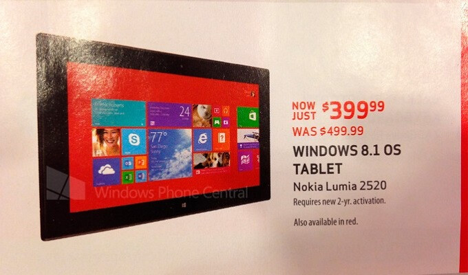 Verizon to offer special price with Nokia Lumia 2520 tablet, only $399 with 2-year contract