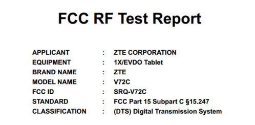 ZTE V72C for Sprint at the FCC