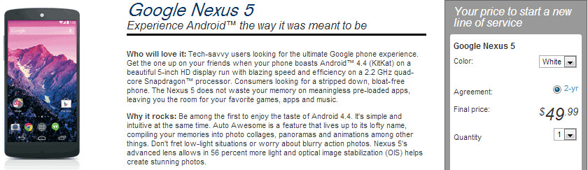 Nexus 5 can run you $50 on Sprint, but only if you switch