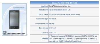 The Nokia Lumia 526 receives certification in China