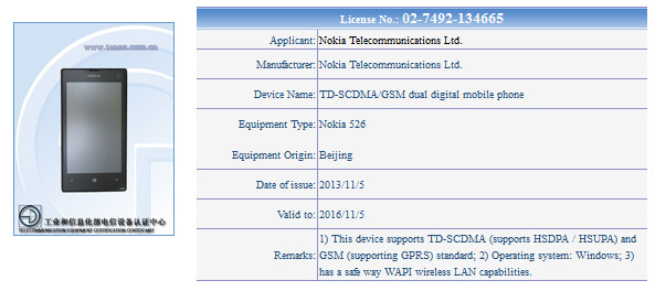The Nokia Lumia 526 receives certification in China - Nokia Lumia 525 variant gets certified in China