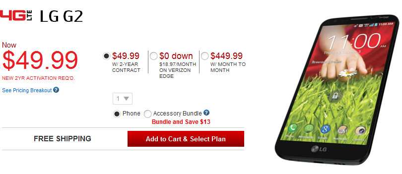 The LG G2 is just $49.99 on contract at Verizon - LG G2 just $49.99 on contract at Verizon