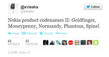 Tweet lists alleged code names for upcoming Nokia devices