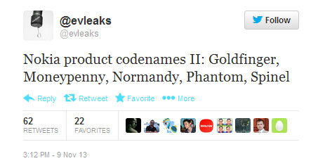Tweet lists alleged code names for upcoming Nokia devices - Tweet reveals code names for new Nokia models