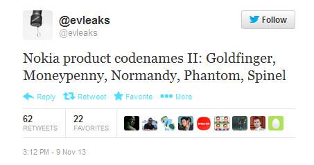 Tweet reveals code names for new Nokia models