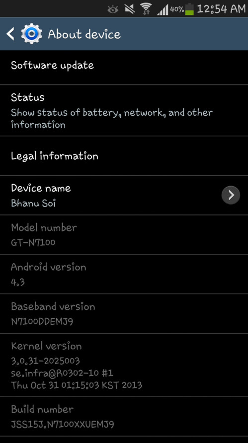 Android 4.3 for Samsung GALAXY Note II found at Samsung service centers