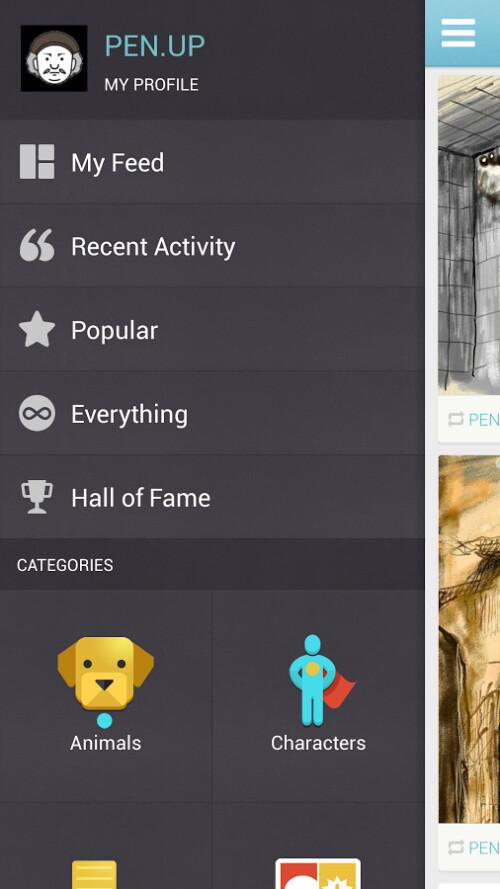 Screenshots from PEN.UP