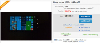A pre-production model of the Nokia Lumia 1520 can be bought on eBay