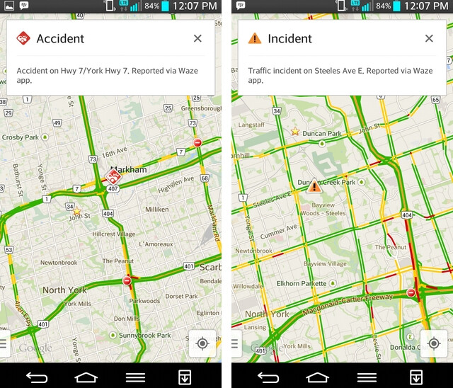 Screen shots from Google Maps featuring the new improvements from Waze - Google adds Waze feature to iOS and Android version of Maps