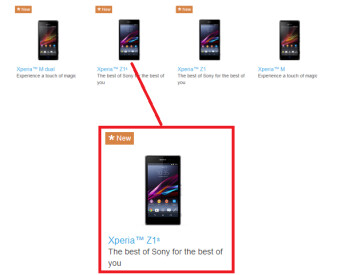 The Sony Xperia Z1s showed up on Sony's website before getting pulled