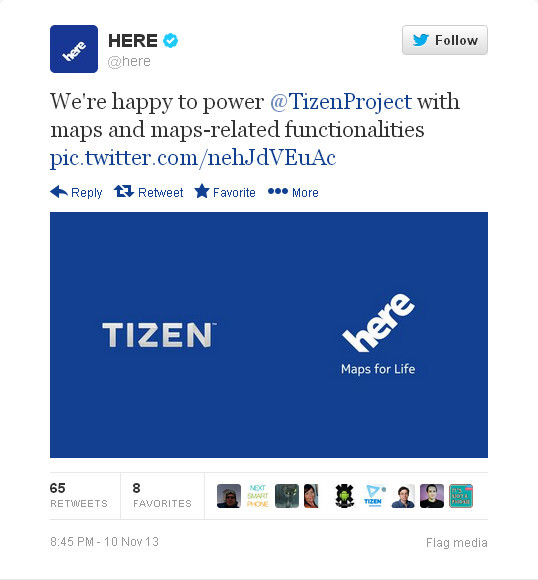 HERE Maps confirmed to support Tizen