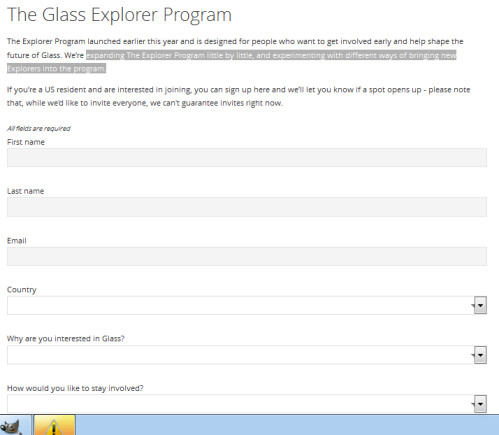 Apply online to become a Google Glass Explorer member