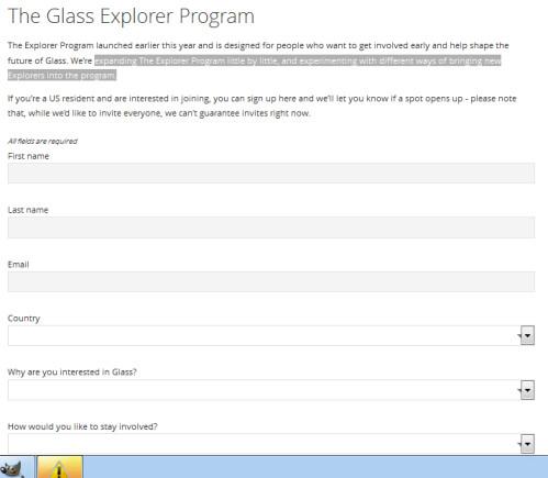 Apply online to become a Google Glass Explorer member