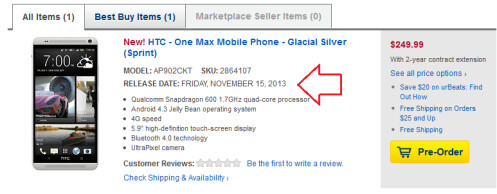 Best Buy is taking pre-orders for the Sprint branded HTC One max with a launch date of November 15th