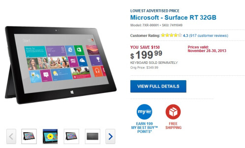 Surface RT 32GB - $199