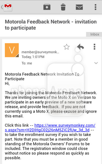 Screenshot from Verizon branded Moto X taking part in the soak test - Verizon customers with the Motorola Moto X invited to join soak test, could be Android 4.4