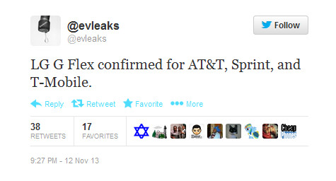 The LG G Flex is coming to the U.S. says evleaks - Tweet says LG G Flex is coming to AT&T, Sprint and T-Mobile