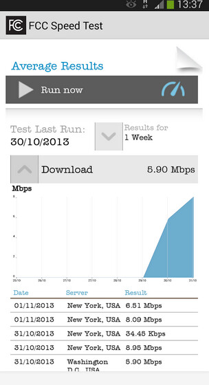Screenshots from FCC Speed Test - Crowdsourcing FCC Speed Test app hits Google Play Store