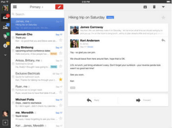 Updated UI for the Apple iPad comes with the update to Gmail for iOS