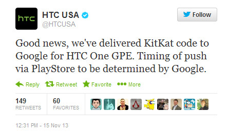 HTC says the Android 4.4 update for the Google Play Edition of the HTC One is in Google's hands - KitKat code given by HTC to Google; HTC One Google Play edition update in Google's hands