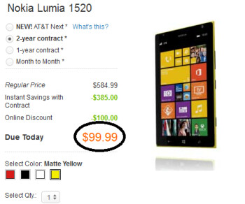The price of the Nokia Lumia 1520 phablet has been cut to $99.99 on contract at AT&T