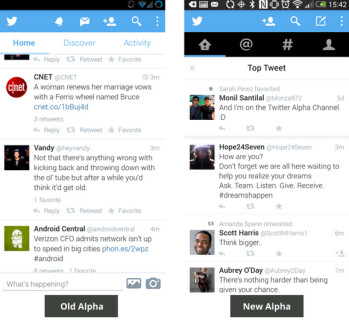 Differences between the old and new alpha versions of Twitter's Android app