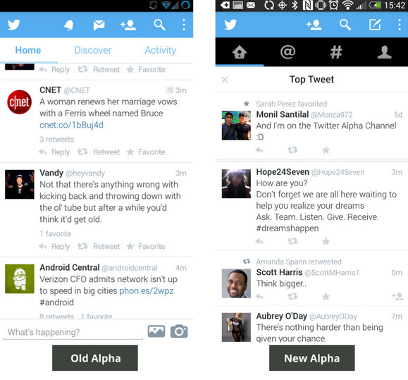 """Differences between the old and new alpha versions of Twitter's Android app - Twitter drops """"swipeable"""" redesign for its Android app"""