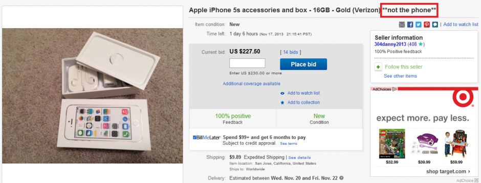 The box for the 16GB Gold Apple iPhone 5s is being auctioned off on eBay - Apple iPhone 5s box and accessories up for bid on eBay, phone not included