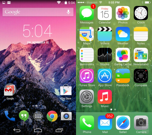 The Android and iOS home screens